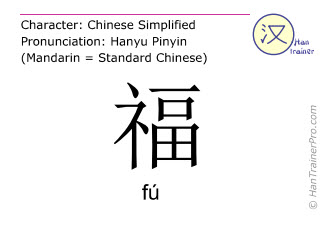 Chinese characters  ( fu / fú ) with pronunciation (English translation: happiness )