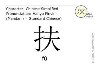 Chinese characters  ( fu / fú ) with pronunciation (English translation: to help )