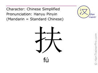 Chinesische Schriftzeichen  ( fu / fú ) mit Aussprache (Deutsche Bedeutung: unterstützen )