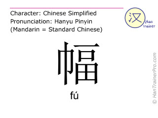 Chinese characters  ( fu / f&uacute; ) with pronunciation (English translation: <i>classifier (for textiles or pictures)</i> )
