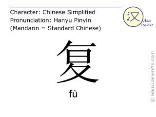 Caractère chinois  ( fu / fù ) avec prononciation (traduction française: répéter )