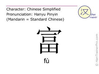 汉字  ( fu / fù ) 包括发音 (英文翻译: rich )