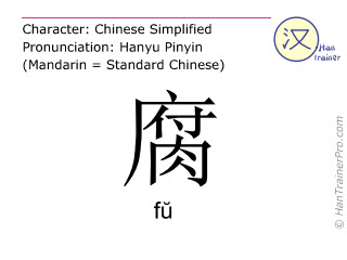 Chinese characters  ( fu / f&#365 ) with pronunciation (English translation: rotten )