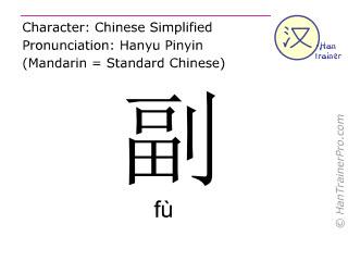 Chine&shy;sische Schrift&shy;zeichen  ( fu / f&ugrave; ) mit Aussprache (Deutsche Bedeutung: <m>zweitrangig</m> )
