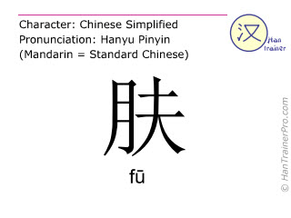 Chinesische Schriftzeichen  ( fu / fū ) mit Aussprache (Deutsche Bedeutung: Haut )