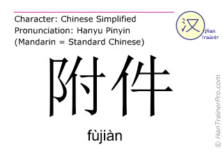 Chinese characters  ( fujian / fùjiàn ) with pronunciation (English translation: accessory )