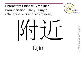 Caractère chinois  ( fujin / fùjìn ) avec prononciation (traduction française: près )
