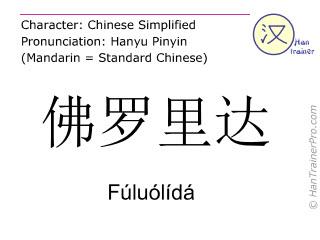 Chinesische Schriftzeichen  ( Fuluolida / Fúluólídá ) mit Aussprache (Deutsche Bedeutung: Florida )