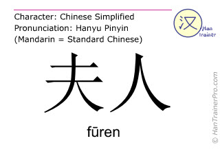 Chinese characters  ( furen / fūren ) with pronunciation (English translation: lady )