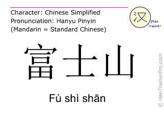 Chinese characters  ( Fu shi shan / Fù shì shān ) with pronunciation (English translation: Fujiyama )