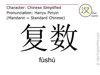 Caractère chinois  ( fushu / fùshù ) avec prononciation (traduction française: pluriel )