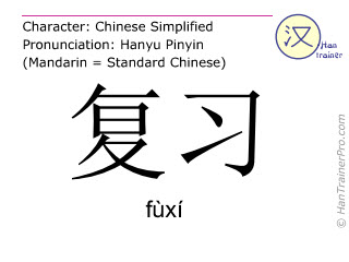Chinese characters  ( fuxi / fùxí ) with pronunciation (English translation: to review )