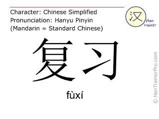 汉字  ( fuxi / fùxí ) 包括发音 (英文翻译: to review )