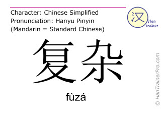 Chinese characters  ( fuza / fùzá ) with pronunciation (English translation: complicated )