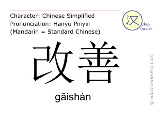 Chinese characters  ( gaishan / găishàn ) with pronunciation (English translation: to improve )