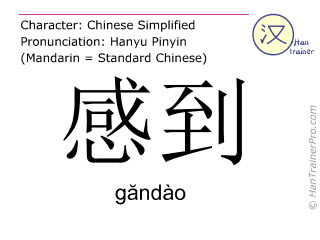 Chinese characters  ( gandao / găndào ) with pronunciation (English translation: to feel )