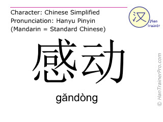 Chinese characters  ( gandong / găndòng ) with pronunciation (English translation: to move )
