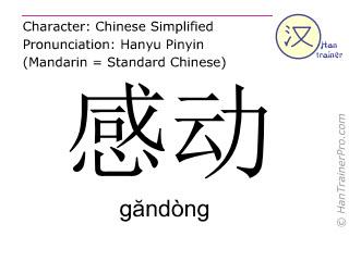 Caractère chinois  ( gandong / găndòng ) avec prononciation (traduction française: se déplacer )
