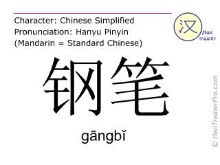 Caractère chinois  ( gangbi / gāngbĭ ) avec prononciation (traduction française: stylo )