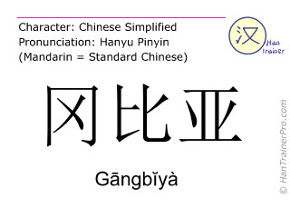 Chinese characters  ( Gangbiya / Gāngbĭyà ) with pronunciation (English translation: Gambia )