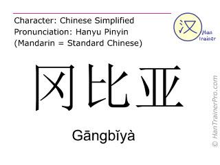 Caracteres chinos  ( Gangbiya / Gāngbĭyà ) con pronunciación (traducción española: Gambia )