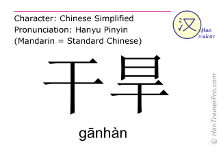 Chinese characters  ( ganhan / g&#257nhàn ) with pronunciation (English translation: drought )