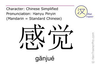 Chinesische Schriftzeichen  ( ganjue / gănjué ) mit Aussprache (Deutsche Bedeutung: Gefühl )