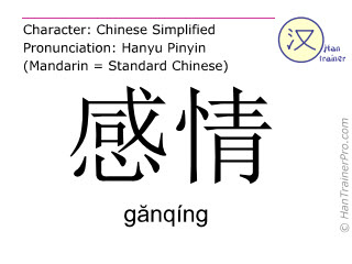Chinese characters  ( ganqing / g&#259nqíng ) with pronunciation (English translation: feeling )