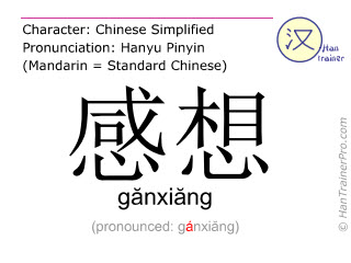 Chinese characters  ( ganxiang / gănxiăng ) with pronunciation (English translation: impression )