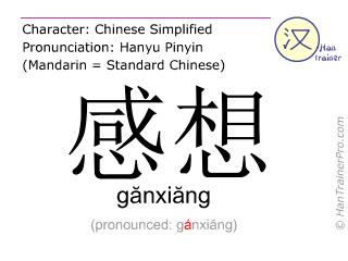 Caractère chinois  ( ganxiang / gănxiăng ) avec prononciation (traduction française: impression )