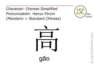 Chinesische Schriftzeichen  ( gao / gāo ) mit Aussprache (Deutsche Bedeutung: hoch )