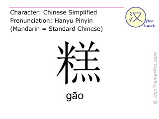 Chinese characters  ( gao / gāo ) with pronunciation (English translation: pudding )