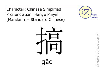 Chinese characters  ( gao / găo ) with pronunciation (English translation: to start )