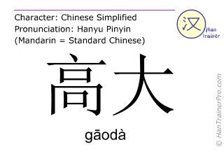 Caractère chinois  ( gaoda / gāodà ) avec prononciation (traduction française: grand )