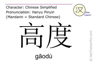 Chinesische Schriftzeichen  ( gaodu / gāodù ) mit Aussprache (Deutsche Bedeutung: höchst )