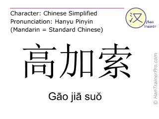 Caracteres chinos  ( Gao jia suo / Gāo jiā suŏ ) con pronunciación (traducción española: Caucasia )