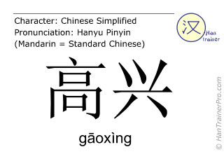 Chinese characters  ( gaoxing / g&#257oxìng ) with pronunciation (English translation: (to be) happy )