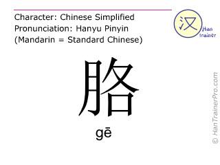 Chine&shy;sische Schrift&shy;zeichen  ( ge / g&#275; ) mit Aussprache (Deutsche Bedeutung: <m>Achselgegend</m> )