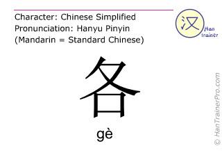 Chinesische Schriftzeichen  ( ge / gè ) mit Aussprache (Deutsche Bedeutung: jeder )