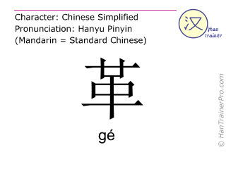 Chinese characters  ( ge / gé ) with pronunciation (English translation: leather )