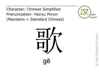 Chinesische Schriftzeichen  ( ge / gē ) mit Aussprache (Deutsche Bedeutung: Lied )