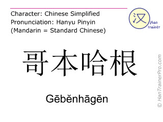 Chinese characters  ( Gebenhagen / Gēbĕnhāgēn ) with pronunciation (English translation: Copenhagen )