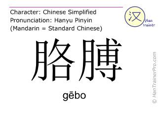 Caractère chinois  ( gebo / gēbo ) avec prononciation (traduction française: bras )