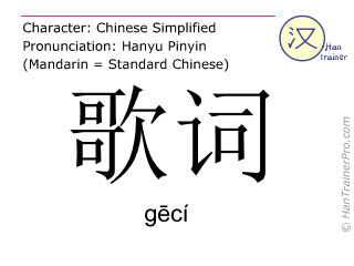Chinese characters  ( geci / gēcí ) with pronunciation (English translation: lyrics )