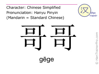 Chinese characters  ( gege / g&#275ge ) with pronunciation (English translation: elder brother )