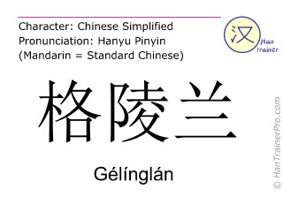 Chinese characters  ( Gelinglan / Gélínglán ) with pronunciation (English translation: Greenland )