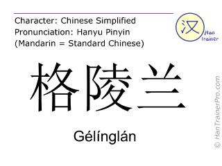 Chinesische Schriftzeichen  ( Gelinglan / Gélínglán ) mit Aussprache (Deutsche Bedeutung: Grönland )