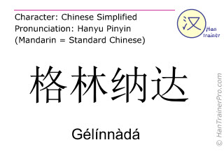 Chinese characters  ( Gelinnada / Gélínnàdá ) with pronunciation (English translation: Grenada )