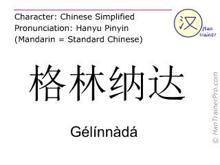 Caracteres chinos  ( Gelinnada / Gélínnàdá ) con pronunciación (traducción española: Granada (país) )