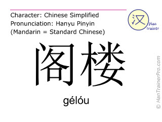 Chinese characters  ( gelou / gélóu ) with pronunciation (English translation: attic )